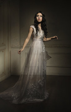 Beautiful ghost girl in white dress