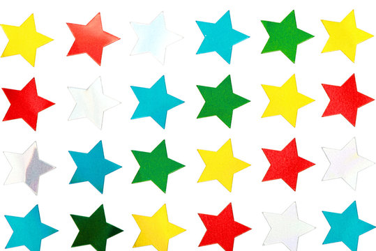 Shiny Star Stickers on White