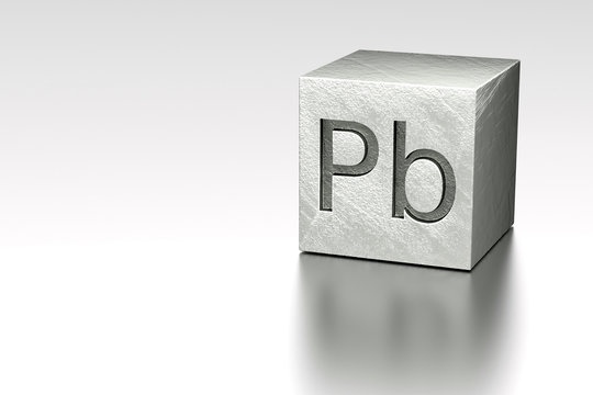 Lead cube with Pb Plumbum mark
