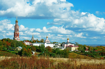 Russian landscape: Orthodox church under the blue sky