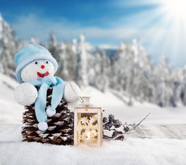 Fototapete - Winter snowy scenery with snow man