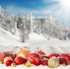 Wall Mural - Winter scenery with christmas balls