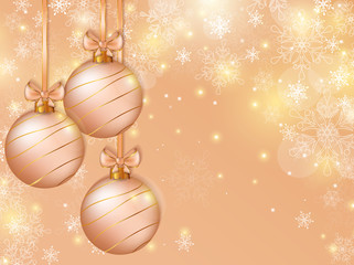 Christmas background with balls. Vector card.
