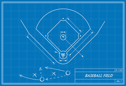 baseball field on blueprint