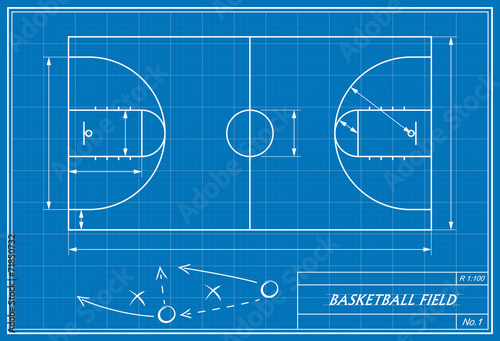 Basketball court on blueprint stock image and royalty free vector basketball court on blueprint malvernweather Gallery