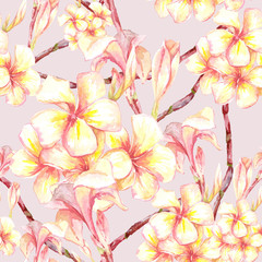 Tropical seamless pattern with exotic flowers