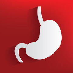 Stomach symbol on red background,clean vector