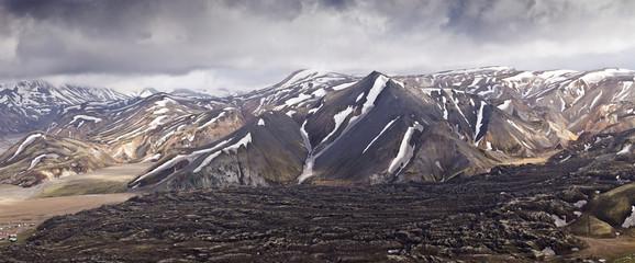 Panoramatic view mountains in Iceland, Landmannalaugar