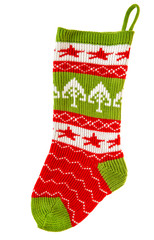 christmas stocking. knitted sock for Santa's gifts. winter holid