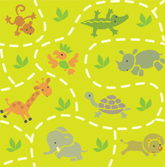 Seamless pattern with funny african animals