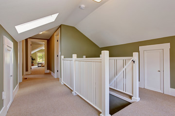 Green and white upstairs hallway with vaulted ceiling and skylig