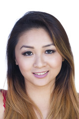 Straight On Portrait Attractive Asian American Woman