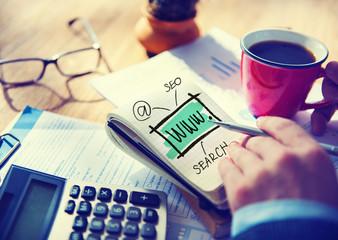 Businessman Writing WWW Search Internet Concept