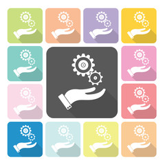 Hand holding a gear Icon color set vector illustration