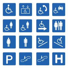 Blue square handicap signs vector set
