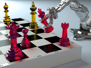 Robot and chess.