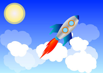 Rocket in the sky background
