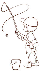 A plain sketch of a boy fishing