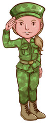 A sketch of a female soldier