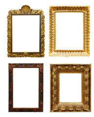 Set of old  gold frames. Isolated over white