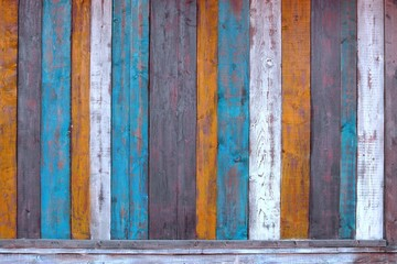 Fotobehang Bestsellers Colorful Wooden Plank Panel