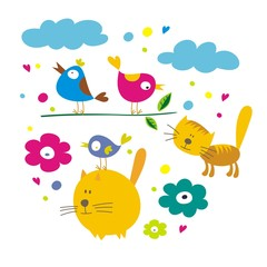 cats and birds cartoon card