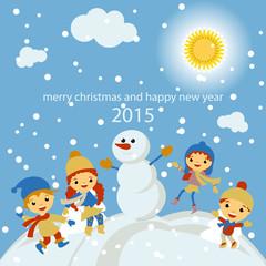 Merry Christmas Greeting card, snowfall and hanging, vector