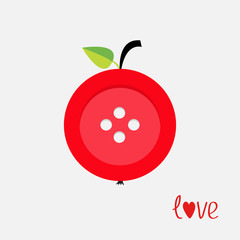 Red button apple with word love Flat design style