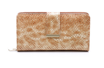 Women's gold leather wallet on a white background