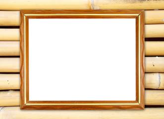 blank wood frame on bamboo wall