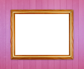 blank wood frame on colorful wood wall background