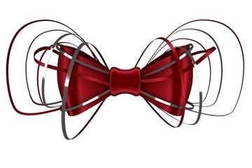 Digitally generated red shiny bow