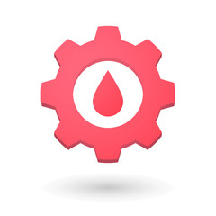 Gear icon with a blood drop