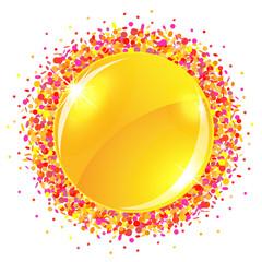 Sun button with confetti
