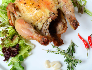 The baked hen with salad