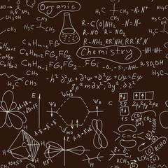 Seamless Organic chemistry hand written background.