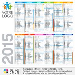 Calendrier 2015 avec vacances scolaires