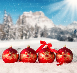 Winter scenery with christmas balls
