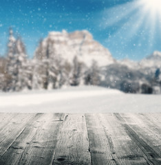 Wall Mural - Winter scenery with wooden planks