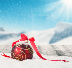 Wall Mural - Winter scenery with christmas ball