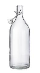 Opened wine bottle on white background