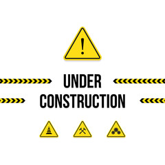 Under construction, set of warning signs, vector illustration