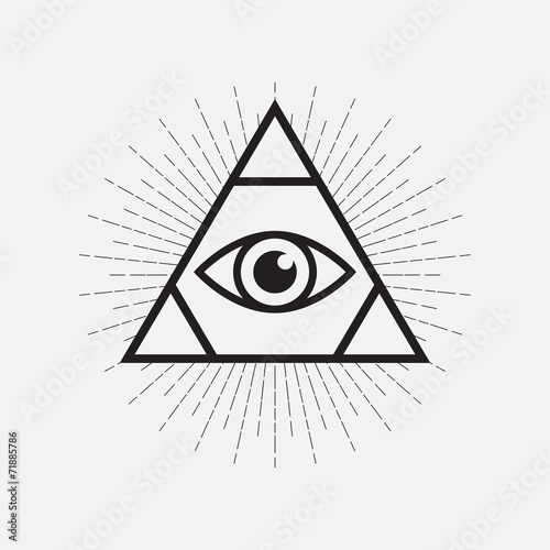 All Seeing Eye Symbol Triangle With Rays Stock Image And Royalty