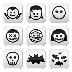 Halloween characters - Dracula, Frankenstein, mummy buttons
