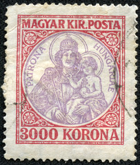 stamp printed by Hungary, shows Madonna and child