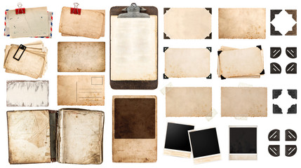 Fototapeten Retro vintage paper sheets, book, old photo frames and corners, antiqu