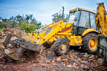 Hydraulic crusher, industrial excavator machinery working