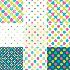 Set of  9 polka dot seamless patterns