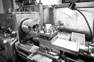 Black and white photo of Lathe machine tool
