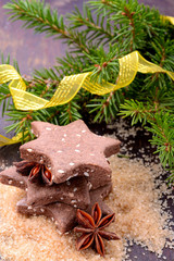 Chocolate homemade Christmas cookies in the shape of stars with